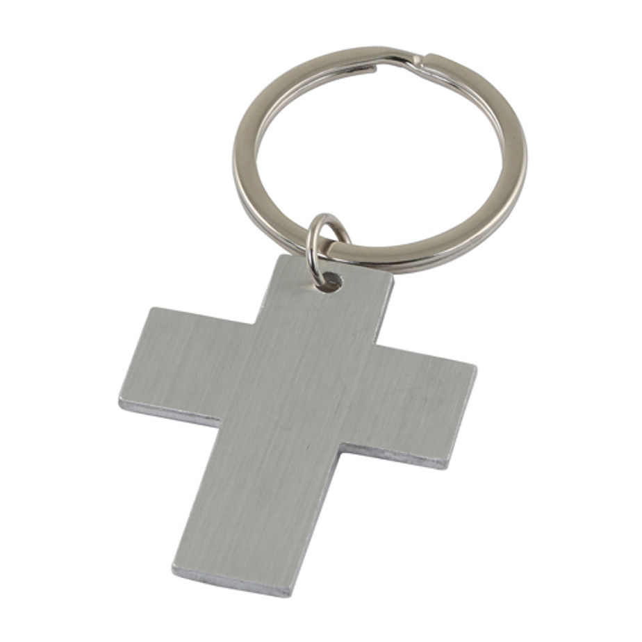 Silver Cross Keyring Is Made From Metal And Cones In A Gift Box.