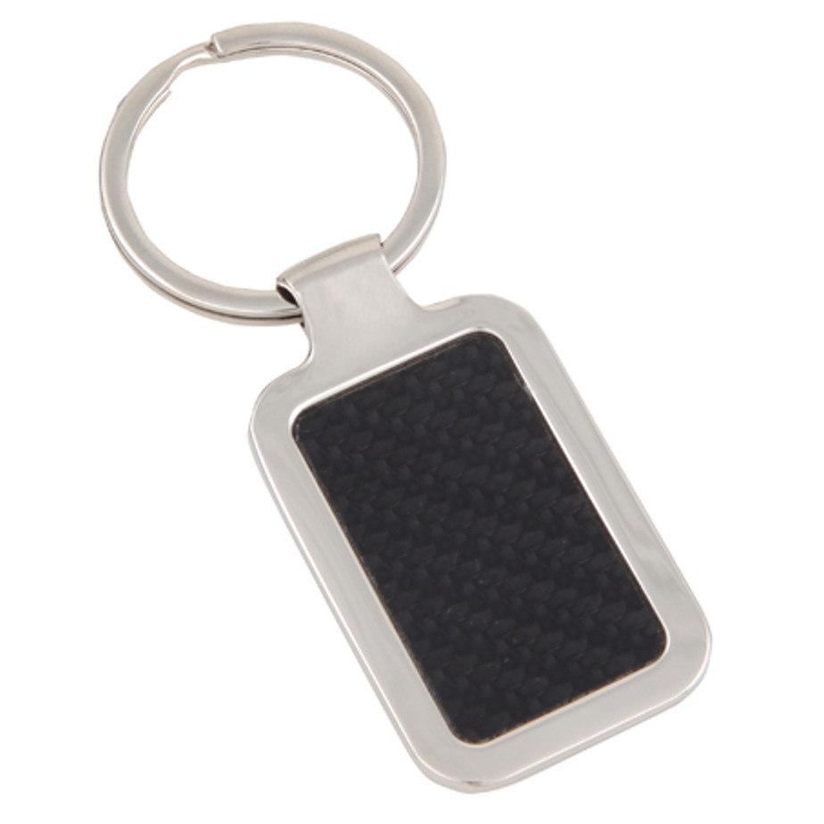 The Silver/Black Leatherette Metal Keyring Is Packaged In A Window Box.