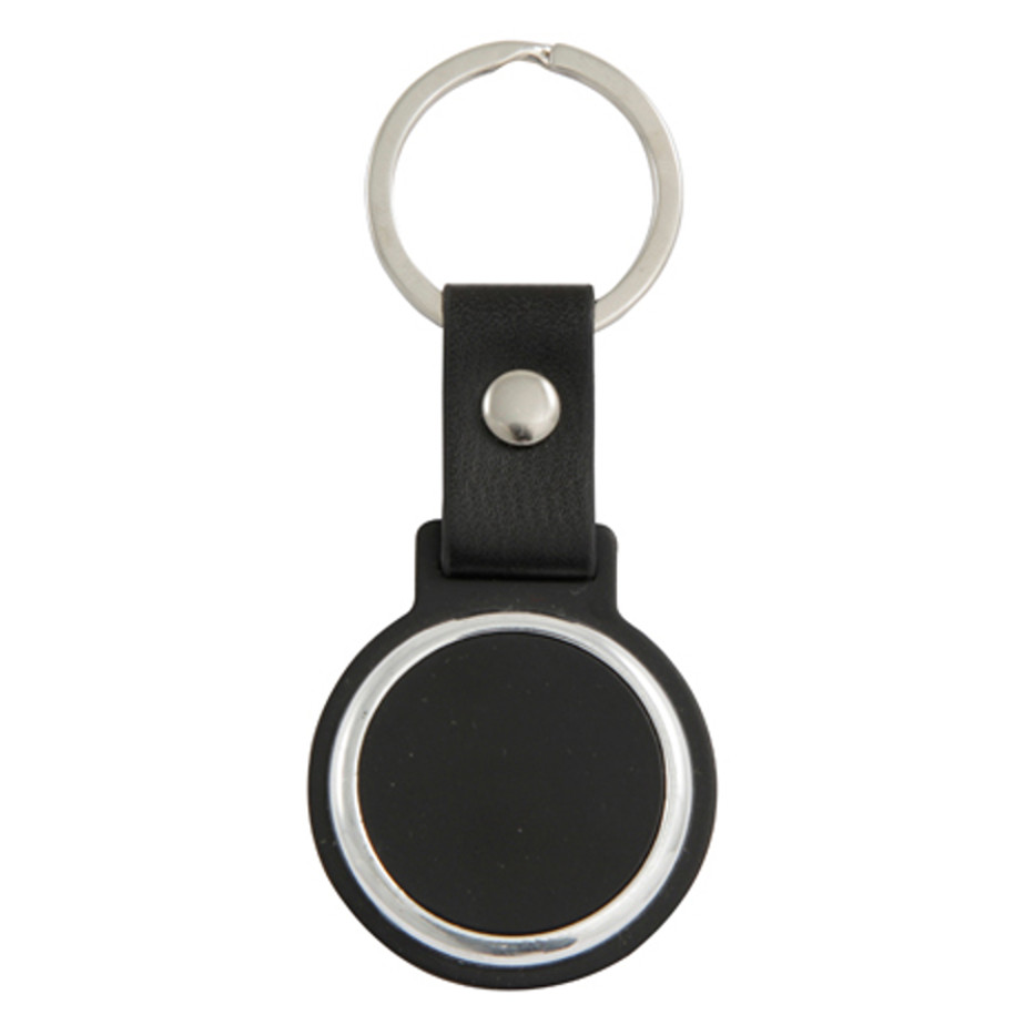 The Black Circular Keyring Is Made From Metal And Plastic.