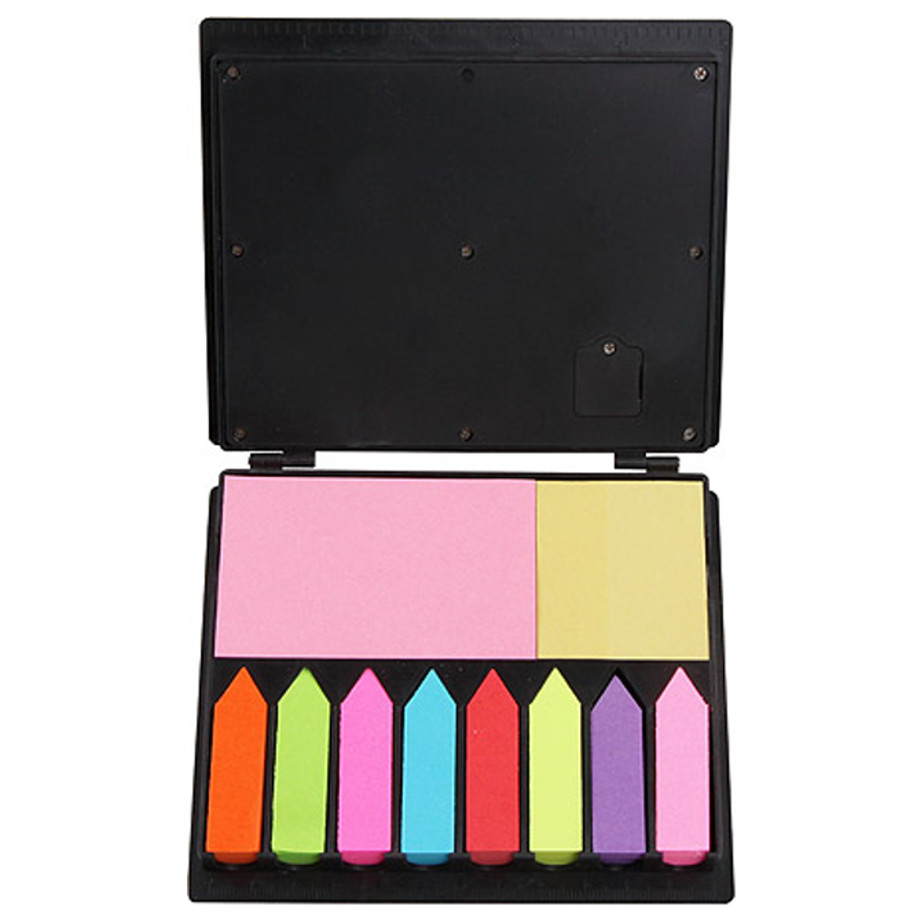 The Calculator And Sticky Memo Set Has A 8 Digit Calculator And 10 Assorted Colour Sticky Memos.