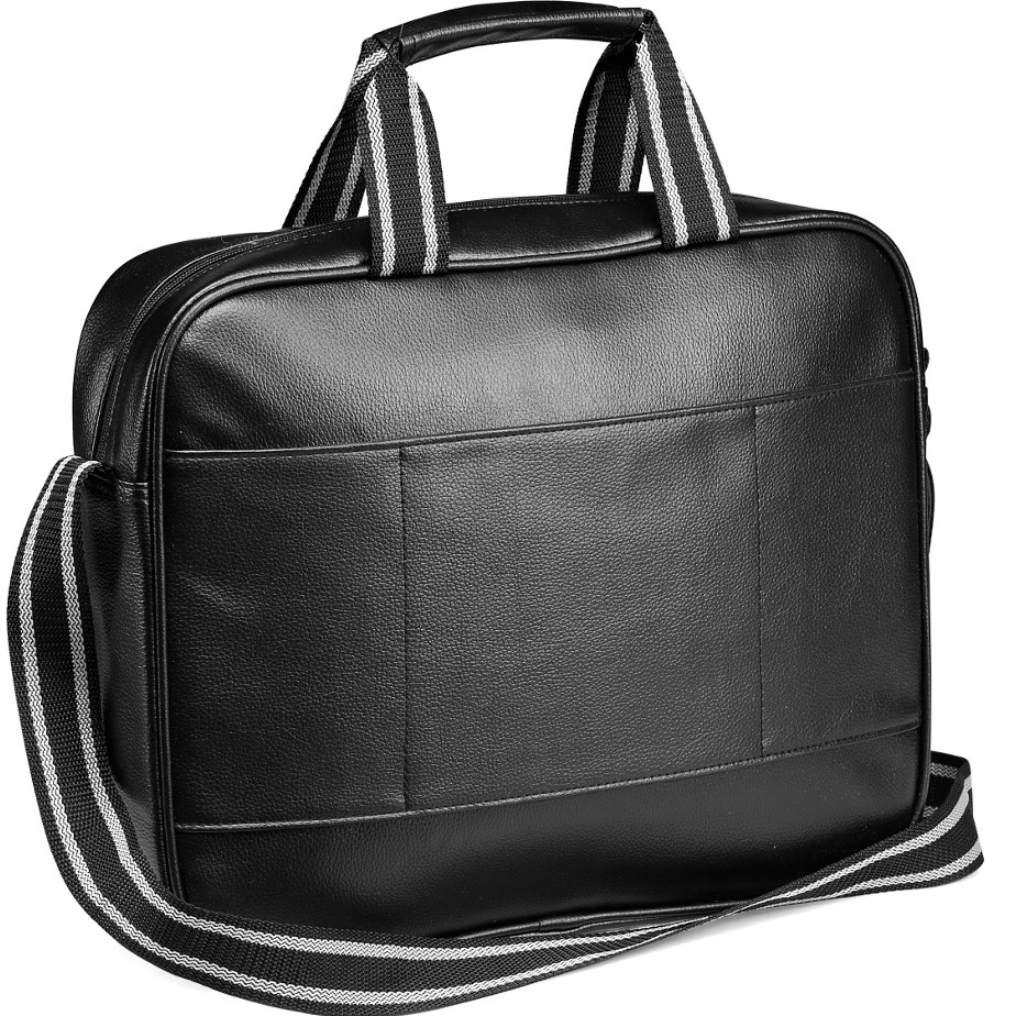 The Black 5th Avenue Compu Brief Has A Back Panel Designed To Slip Over Trolley Handles. The Brief Bag Features An Adjustable Shoulder Strap With A Table Pocket.