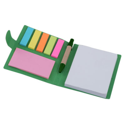 The Sticky Memo Mini Notepad Pen is a green cardboard folder. With a 60page notepad, mini recyclable pen and sticky note memo pads