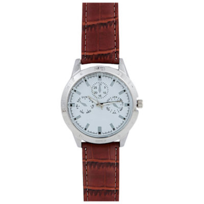 The Typhoon Watch is a brown strap leatherette watch with a silver metal circular face