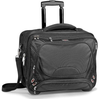 The Elleven Checkpoint-Friendly Tech Trolley Bag Is Made From Dobby Nylon With Scuba Trim.The Bag Features A Zippered Compartment With File Dividers, A Mesh Pocket Organizer, A Padded Adjustable Shoulder Strap, And Removable Padded TSA Complaint Laptop Sleeve.