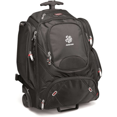 The Elleven Tech Trolley Backpack Is Made From Dobby Nylon With Scuba Trim.The Features Include A Earphone Outlet With Removable Techtrap,Front Zippered Accessories Pocket With A Side Zippered Accessory Pocket,Padded Backing And A Removable Laptop Sleeve.