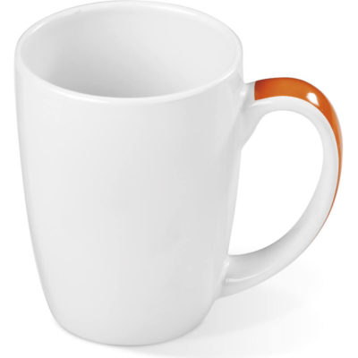 The Crescent Mug is an AB grade white ceramic mug with an orange accented handle and a 325ml capacity