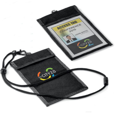 The Bliss Conference Pouch And Lanyard includes a polyester lanyard with a lobster hook.
