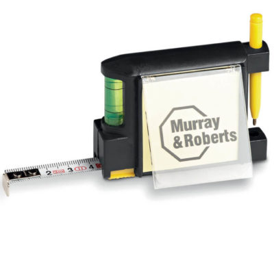Mason Contractor Buddy Includes 3m Measuring Tape, Spirit Level, Pen And Memo Pad.