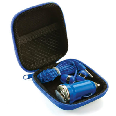 The Earbud & Car Charger Set includes a royal blue hardcover EVA square case with zippered closure and net pocket inside. Contents include earbuds and a car charger adapter in royal blue to match the case