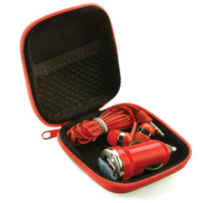 The Earbud & Car Charger Set includes a red hardcover EVA square case with zippered closure and net pocket inside. Contents include earbuds and a car charger adapter in red to match the case