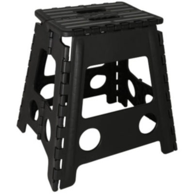 The Folding Step Up Chair is a black ard plastic chair that folds out into a chair to stand on or sit on. Open to display the size of the chair / step
