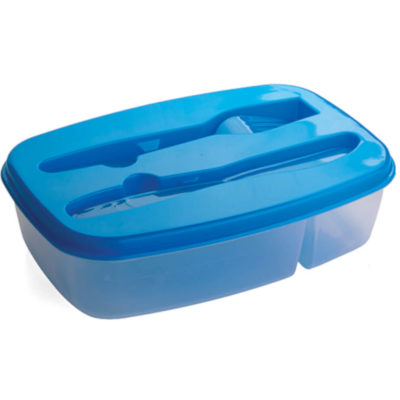 The 2 Section Food Container is a plastic lunch box with two compartments, one large and one small. Removable blue lid that houses a plastic knife and fork in matching blue colour