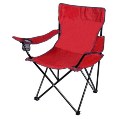 The Camping Chair in red is a standard fold-up camping chair with an area on the one arm for a cold drink.