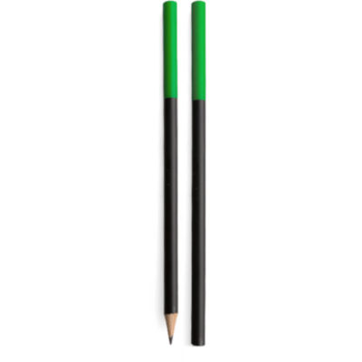 The Oro Pencil is a black barrel standard grey lead pencil with a green tip on the bottom end