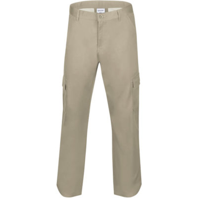 The Mens Cargo Pants is a long Stone pants with side, back and cargo pockets. Back pockets have button down flaps. Pants has belt loops and darts for shaping.