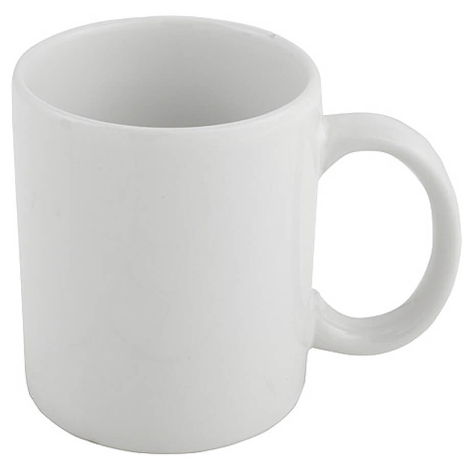 The White Coffee Mug Is Made From Ceramic. Make Use Of This Blank Surface By Adding A Logo.