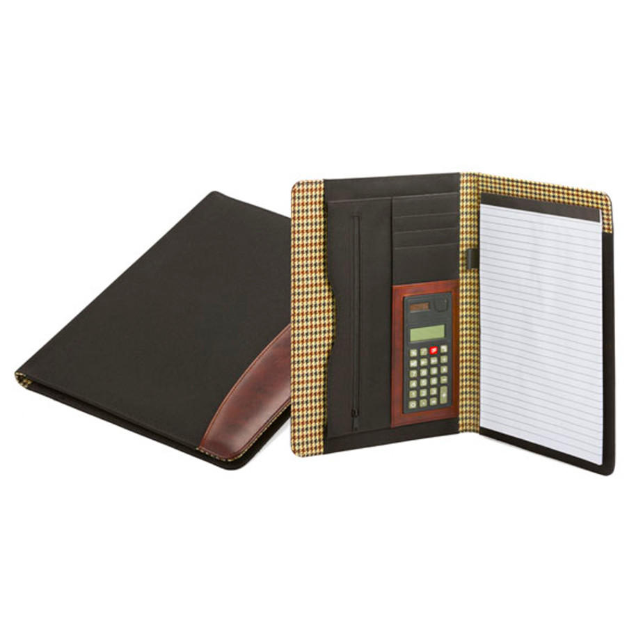 The A4 Rancho Folder with Calculator is a brown checkered A4 folder opened up on the right side with writing pad and calculator inside. Has card slots and a document holder area.