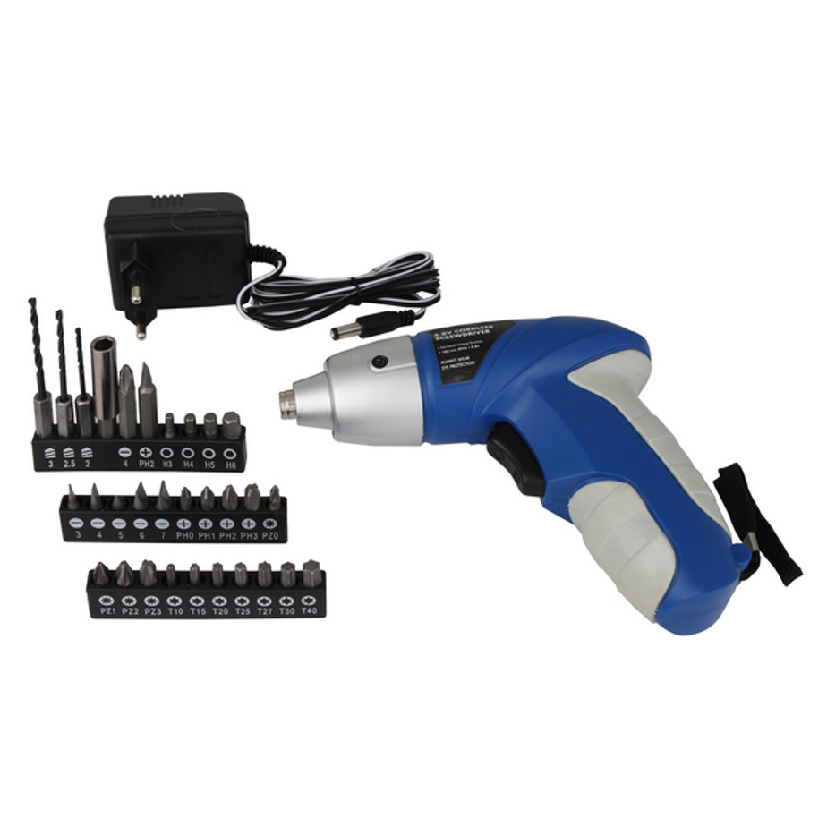 The Cordless Screwdriver 4.8V Includes A Screwdriver, 30 Stainless Steel Accessory Bits And 1 x 220V Charger