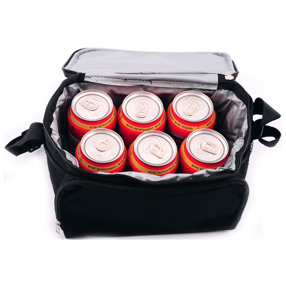 The 1200D 6 Can Cooler Features A Front Pouch And Mesh Side Pockets. Rectangular Shaped And Can Fit 6 Cans Inside.
