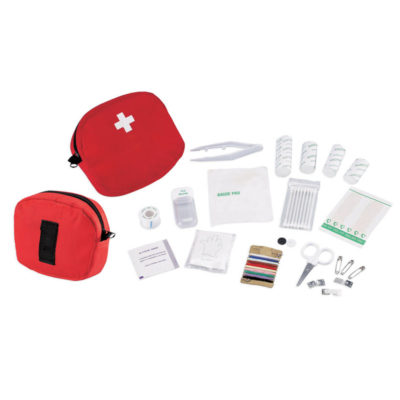 The First Aid Kit Includes A Pair Of Scissors, 3 Roll Up Bandages, Cotton Roll, Gauze Pad, Pill Bottle, Pack Of Cotton Tip Applicators, Adhesive Tape, Medical Gloves, 2 Bandages, 3 Safety Pins And 3 Bandage Fastener.