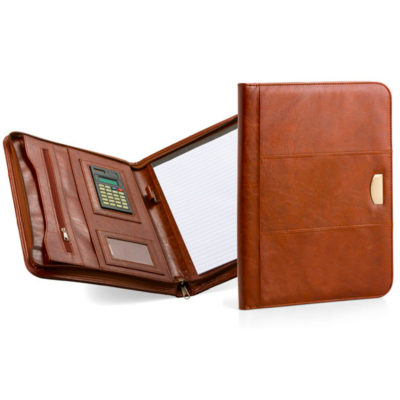 The A4 Fordwich Folder With Calculator is made from PU material, with a inner zip pocket, ID pocket and a mini calculator