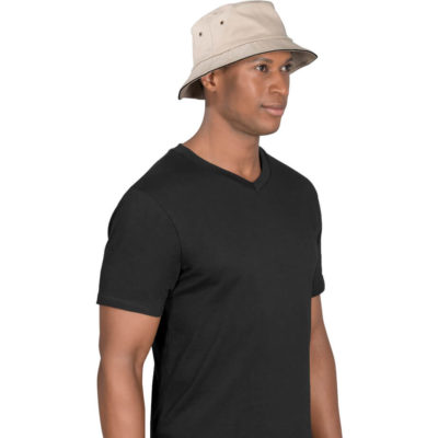 The Bailey Floppy Hat Is a 100% heavy brushed cotton bucket hat with metal eyelets and a contrasting black trimming along the sandwich brim
