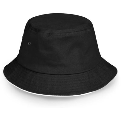 The Bailet Floppy Hat Is a 100% heavy brushed cotton black bucket hat with metal eyelets and a contrasting white trimming along hte sandwich brim
