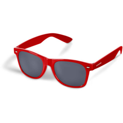 The Cosmos Sunglasses are made from PC with red frames, tinted lenses and a UV400 protection level
