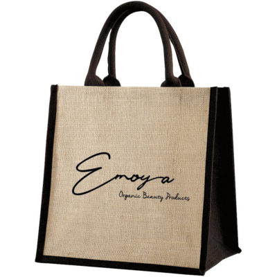 The Ecojute Okavango Natural Fibre Bag is made from laminated jute fabric with cotton webbing rope handles. In a natural colour with black detailing.