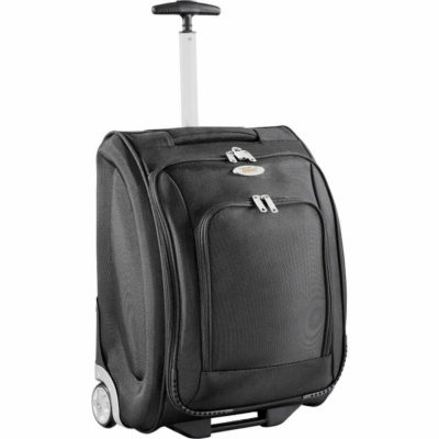 The Donney Laptop Trolley Case is a black 1680D polyester travel bag on wheels. With a telescopic handle, padded carry handle, heavy duty wheels and frame, can store a 15.6' laptop, a stationery compartment all with zip closures and a tie down inner compartment