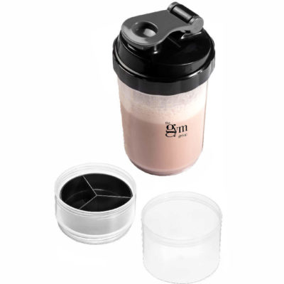 The Powerhouse Protein Shaker with a middle compartment for your supplements and a screw on bottom section for your protein powder.