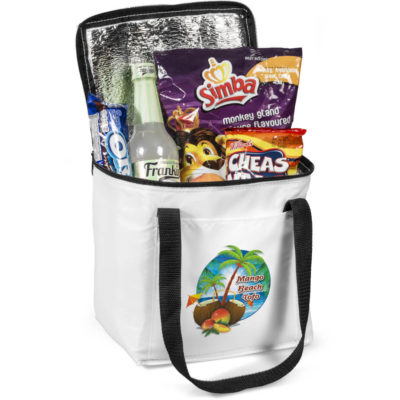 The Artic 12 Can Cooler Is Made Using 210D With Aluminium Foiling. The Features include A Large White Can Cooler With Black Double Handles And A Double Zippered Main Compartment And A Front Side Slip Pocket.