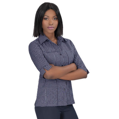The Ladies 3/4 Sleeve Prestige Shirt, comes in different sizes. Made from 65% polyester and 35% cotton.
