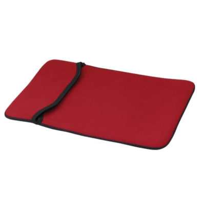 Red Netbook Sleeve Features A Coverseam Stitching And Edge Finished With Binding.