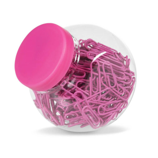 200 Pink Coated Fusion Paper Clip In Transparent Jar With Pink Lid