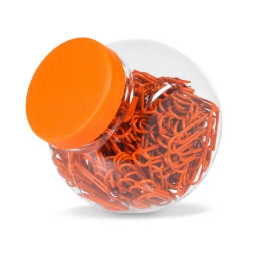 200 Orange Coated Fusion Paper Clip In Transparent Jar With Orange Lid