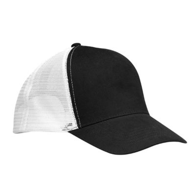 The Black/White Trucker Peak Features A 5 Panel Structured Peak, 6 Rows Of Stitching, Classic Mesh With Adjustable Snapback, Top Button And Curved Visor.