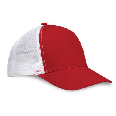 The Red/White Trucker Peak Features A 5 Panel Structured Peak, 6 Rows Of Stitching, Classic Mesh With Adjustable Snapback, Top Button And Curved Visor.