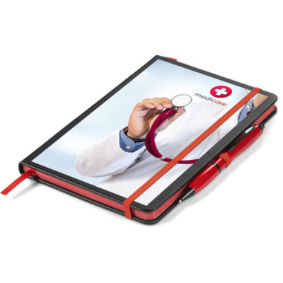 The Avatar A5 Notebook Gift Set Consists Of A Black Notebook, Bright Red Page Edges, A Ribbon And An Elastic Closure With A Matching Plastic Red Avatar Pen With Black German Manufactured Ink.