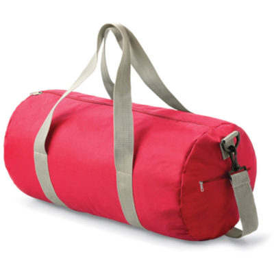 The Stylish Red Barrel Bag Includes An Adjustable Grab Handle And Shoulder Straps. The Bag Is Suitable For Any Sport.