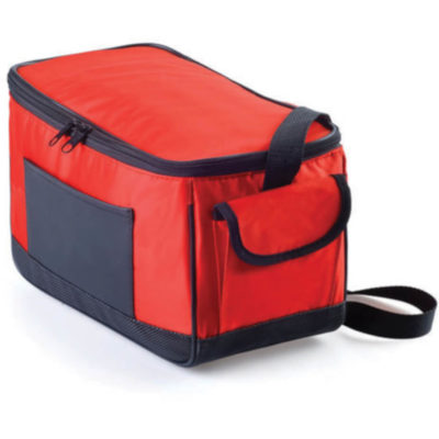 The Red 8 Pack Cool Bag Features A Silver Lining On The Inside Which Is Perfect To Keep Your Refreshments Cold. Made From PVC With A Black Zip Detail, Side Pouch With Velcro Closure And Black Front Slip Pouch