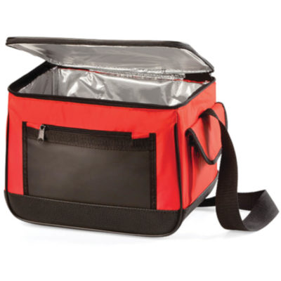 The Red 12 Pack Cooler Bag Features A Silver Lining On The Inside Which Is Perfect To Keep Your Refreshments Cold. With Black Zip Detail, side Velcro Closure Pouch And Front Slip Pocket