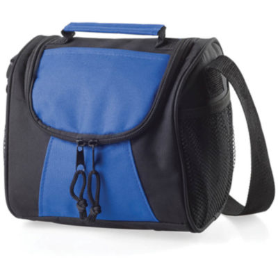 The Lunch Time Cooler is a 600D fabric cooler bag with white insulated lining. Features a contrasting royal blue panel and matching carry handle, black side panels, zip detail and shoulder strap
