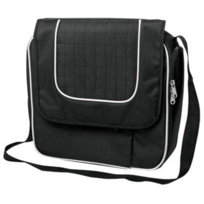 The Wine Cooler Satchel Bag For Two is a blnded 300D / 600D polyester fabric bag. With a flap open cover, zip compartment to store two glasses and two napkins with the bottle opener. Icnldues white trim detail and a lengthy adjustable shoulder strap