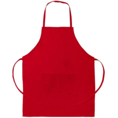 The Apron is a one size fits all cotton twill red protective item. With a large front pocket, centre seam, loop to fit around your neck and strings to tie behind your hand for a comfortable fit