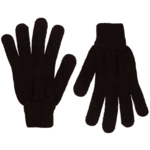 The Aspen Gloves is 100% acrylic knitted black gloves with indiviually shaped fingers and ribbed wristband closure