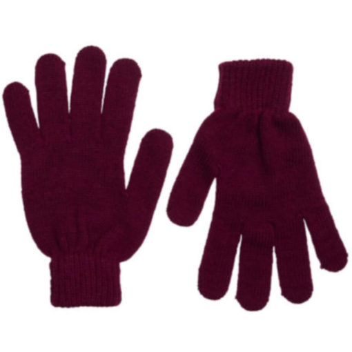The Aspen Gloves is 100% acrylic knitted burgundy gloves with indiviually shaped fingers and ribbed wristband closure