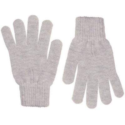 The Aspen Gloves is 100% acrylic knitted grey gloves with indiviually shaped fingers and ribbed wristband closure