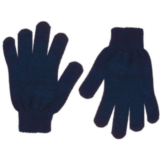 The Aspen Gloves is 100% acrylic knitted navy gloves with indiviually shaped fingers and ribbed wristband closure