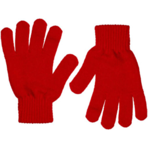 The Aspen Gloves is 100% acrylic knitted red gloves with indiviually shaped fingers and ribbed wristband closure
